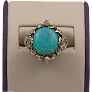 Antique | 14K Australian Opal & Old European Cut Diamond Ring | Size 5-3/4