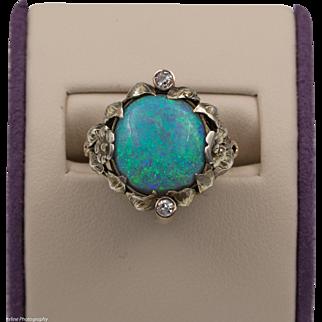 Antique | 14K Australian Opal & Old European Cut Diamond Ring | Size 5-3/4