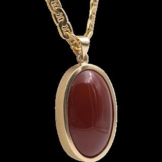 Stunning | 14K Gold | Cornell Red Carnelian Pendant