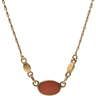 18K YG | Natural Coral Necklace | 16-1/4 Inches