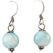 Sterling Silver Larimar 10mm Orb Earrings