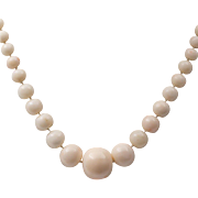 Antique 26-Inch | Natural Angel Skin Coral | Graduated Bead Necklace