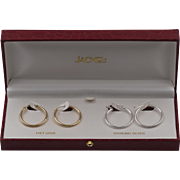 14K JACMEL | 2-Pair | Yellow Gold & Sterling Silver | 1-Inch Hoop Earrings