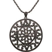 Sterling Silver Marcasite Pendant | 18-inch Sterling Silver Chain