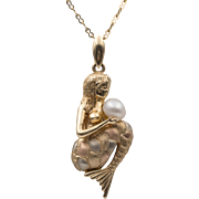 14K Tricolor Gold  | Button Pearl Mermaid Pendant | 22 Inch 14K Chain