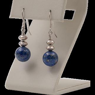 Sterling Silver | Lapis Bead Earrings