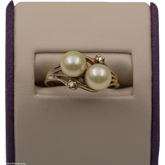 14K YG | Double Pearl Ring | Size 7-1/4