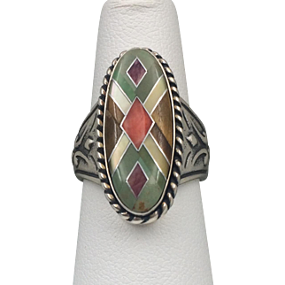 Retired | Carolyn Pollack Relios | Sterling Silver Inlay Gemstone Ring
