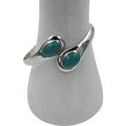 Sterling Silver | Turquoise Cabochons | Hinged Bangle/Bracelet Size 7