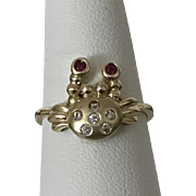 10K | Sweet Nautical Crab Ring | Ruby Eyes
