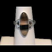 Vintage | Sterling Silver | Dendrite Agate Navette Ring
