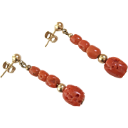 14K YG | Natural Coral Dangle Earrings