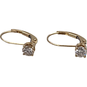 14K YG | .40 CTW | Diamond Lever Back Earrings