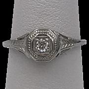 18K WG | Art Deco | Filigree | Diamond Ring Size 4