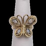 Estate | 14K YG | Opal Butterfly Ring Size 6-1/4