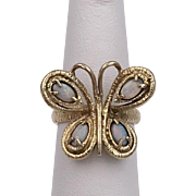 Estate | 14K YG | Opal Butterfly Ring Size 6-1/4