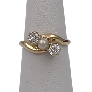 Dated: 1900 | Signed: C.M.G. To. N.M.J. | 14K YG Diamond & Pearl Ring Size 6-1/4