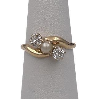 Dated: 1900 | Signed: C.M.G. To. N.M.J. | 14K YG Diamond & Natural Pearl Ring Size 6-1/4