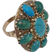 On Sale | Vintage | 14K YG | Turquoise Cabochon Ring | 12.8 Grams