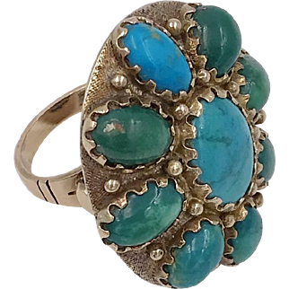 Vintage | 14K YG | Turquoise Cabochon Ring | 12.8 Grams