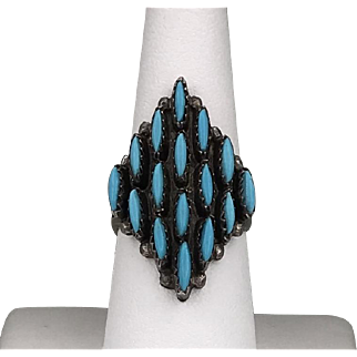 Signed | Vintage Sterling Silver | Zuni Petit Point Turquoise Ring Size 8-1/2
