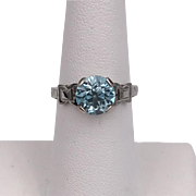GORGEOUS 1940s  | 18K WG | Natural Blue Zircon Ring Size 7