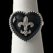 Sterling Silver | Fleur-de-Lis Black Onyx Ring Size 6