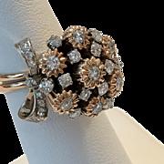 STUNNING | 14K Rose Gold & Platinum Diamond Ring Size 6-1/4