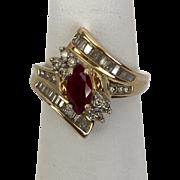 1.75CTW | 14K Ruby & Diamond Ring | Circa 1960s  Size 7-1/4