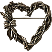 Sterling Silver Brutalist Heart Pin