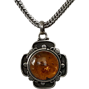 Sterling Silver | Celtic-Style | Amber Cabochon Pendant