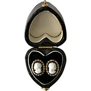 Vintage | 14K YG | Black & White Cameo Earrings