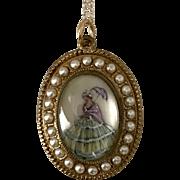 English | Hand Painted Crinoline Lady | 18-Inch 10K YG Chain
