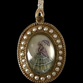 English   Hand Painted Crinoline Lady   18-Inch 10K YG Chain