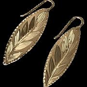 14K YG Vintage Leaf Earrings