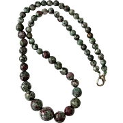 Beautiful Faceted Ruby Zoisite Gemstone | Graduated Bead Necklace