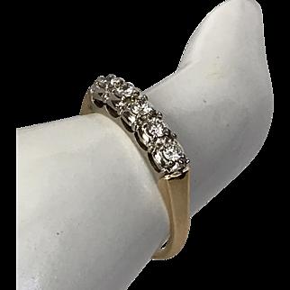 14K YG   5-Stone Diamond Ring 0.25 CTW  Size 7