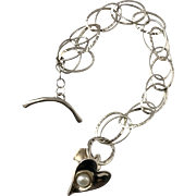 Large Double Chain Link | Sterling Silver | Cultured Pearl & Heart Bracelet  7-1/4 Inches