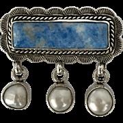 Signed & Dated Joan Slifka 11/96  | Sterling Silver Sodalite & Cultured Pearl Brooch/Pin