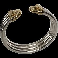 42.7 Grams | 14K YG & Sterling Silver Bangle Bracelet  Vintage