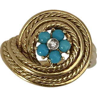 18K YG | Art Deco Persian Turquoise & Diamond Ring