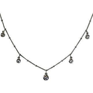 18K WG Diamond Necklace 16-3/4 Inches