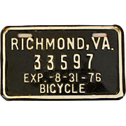 Black and White Bicycle License Plate