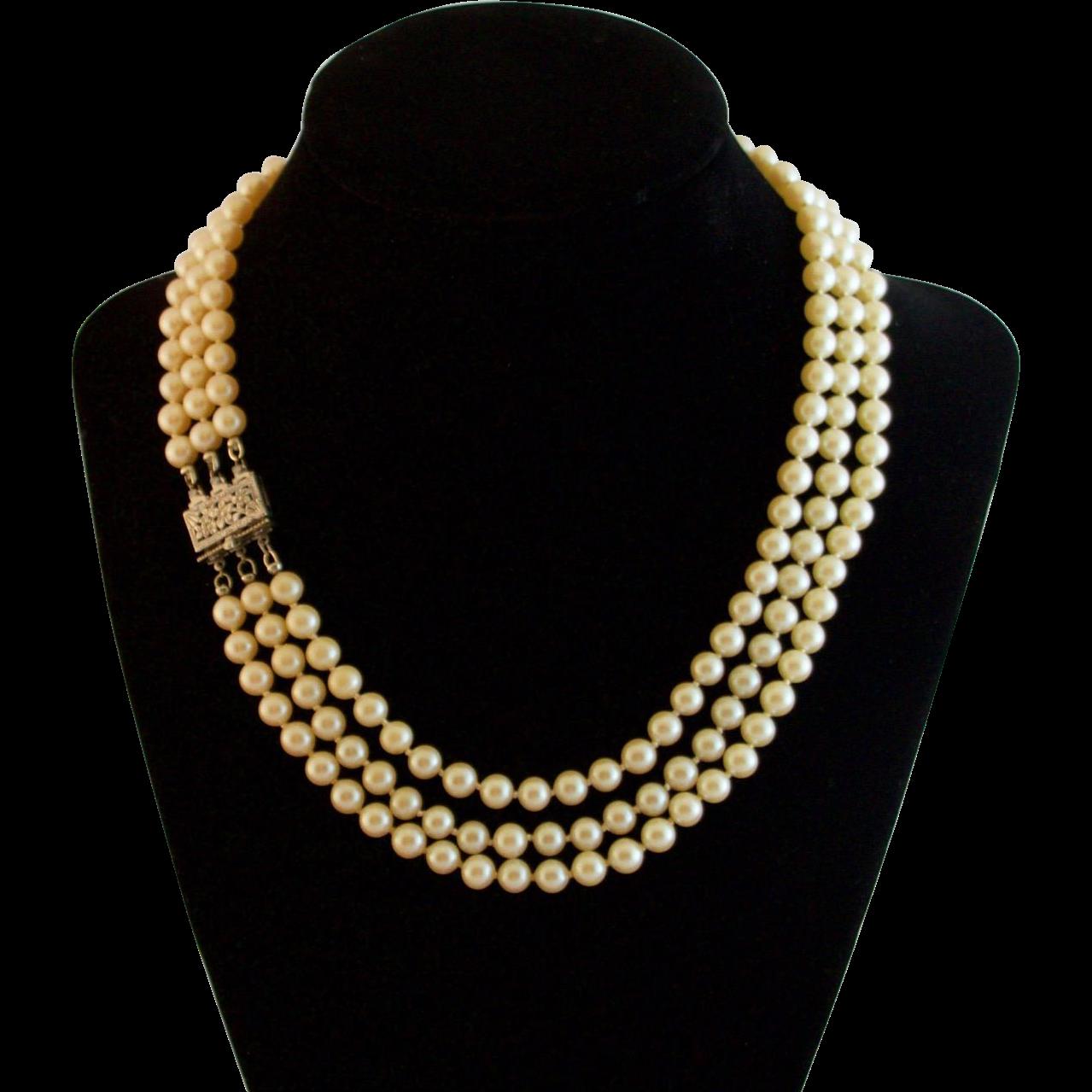Rare Art Deco Coro Faux Pearl Necklace Sterling Silver Clasp