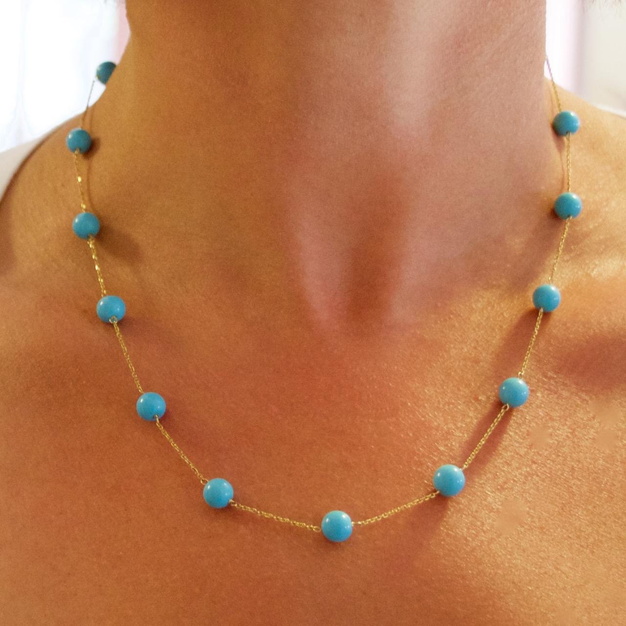 14k Gold Sleeping Beauty Turquoise Station Necklace From