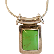 Green Turquoise & Mexican Sterling Pendant