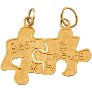 "14K Gold Best Friend Puzzle Charms ""NEVER SEPARATED"""