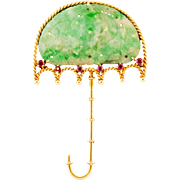 CERTIFIED Jadeite Jade 14k Gold Umbrella Brooch