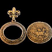 Vintage Fleur-de-lis Brooch with Hook & Old Pocket Watch Case