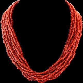 Sterling Silver    10-Strand   Coral Color Bead Torsade